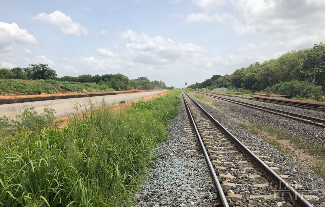 Photo shows train tracks near the construction site of the China-Thailand high-speed railway. Photo: Chu Daye/GT