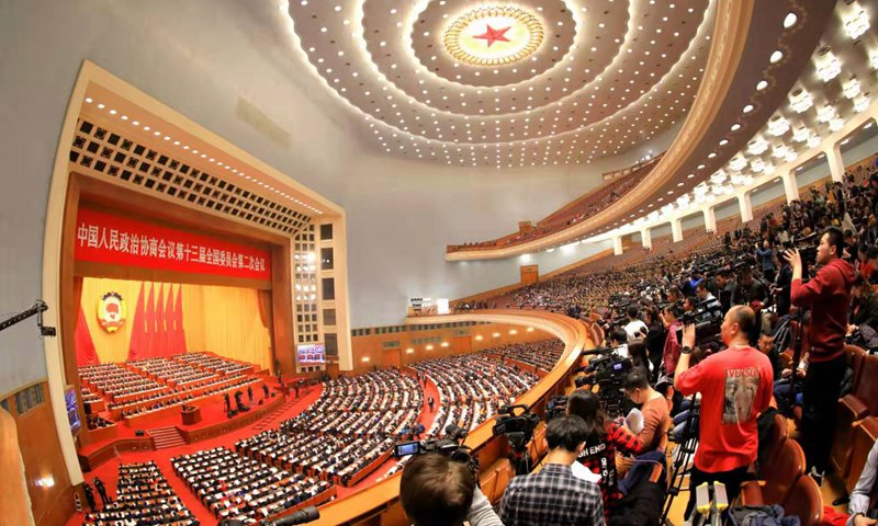The 13th Chinese People's Political Consultative Conference (CPPCC) National Committee kicks off its annual meeting on Sunday at the Great Hall of the People in Beijing, marking the start of this year's two sessions - the annual meetings of the CPPCC and the National People's Congress, China's top legislature - the most important annual political event in China. Photo: VCG