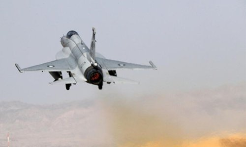 A JF-17 fighter jet attached to the Pakistan Air Force flies towards the designated airspace during an air-to-ground offensive operation drill conducted by two Chinese JH-7 fighter bombers and two Pakistani JF-17 fighter jets on Sept. 20, 2017, which is part of the Shaheen VI  joint training exercise launched by the air forces of China and Pakistan on Sept. 8 and scheduled to conclude on Sept. 27, 2017. Photo: eng.chinamil.com.cn