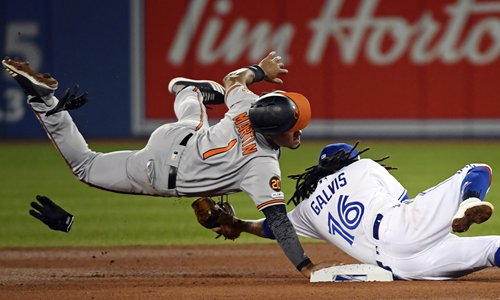 Baltimore Orioles' Richie Martin (No.1) is tagged out at second base by Toronto Blue Jays shortstop Freddy Galvis during their Major League Baseball game on Monday in Toronto. Photo: IC