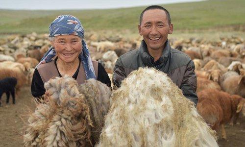 People show wool in Fuhai County of Atlay, northwest China's Xinjiang Uygur Autonomous Region, on June 7, 2019.  Photo: Xinhua