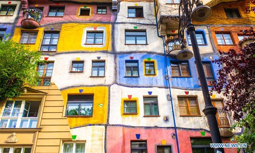 Scenery of Hundertwasser House in Vienna, Austria