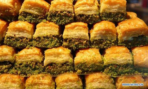 Baklava served in bakery in Istanbul, Turkey