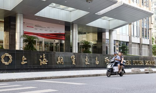 Residents pass by the Shanghai Futures Exchange, located in the Pudong Districtof East China's Shanghai Municipality, on August 1. Photo: IC