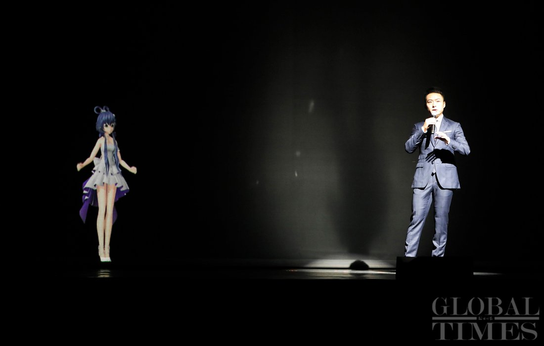 Luo Tianyi, one of the most popular Chinese virtual idols, developed by the Yamaha Corporation in collaboration with Shanghai HENIAN Information Technology Co Ltd, sang a song with a real singer. (Photo: Yang Hui/GT)