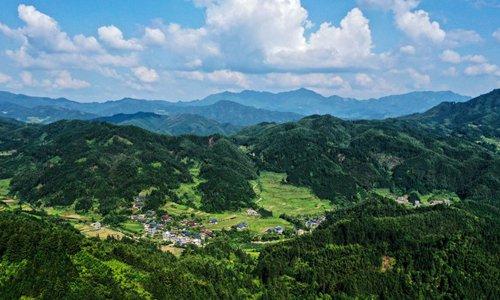 Aerial view of Rongshui Miao Autonomous County in China's Guangxi