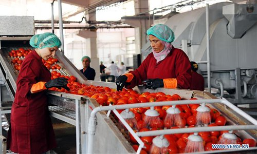 Workers make tomato paste in Damascus, Syria