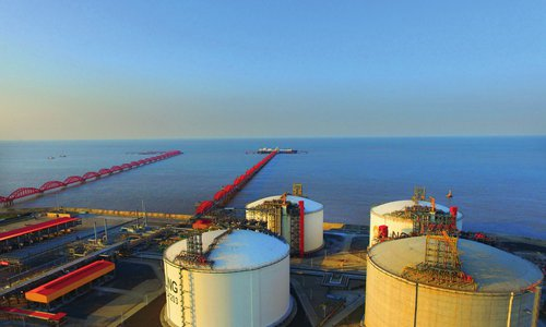A view of the PetroChina Jiangsu LNG receiving station at the Yangkou Port in Nantong, East China's Jiangsu Province. The station ranks first in terms of receiving frequency and capacity of LNG container ships in China. Photo: VCG