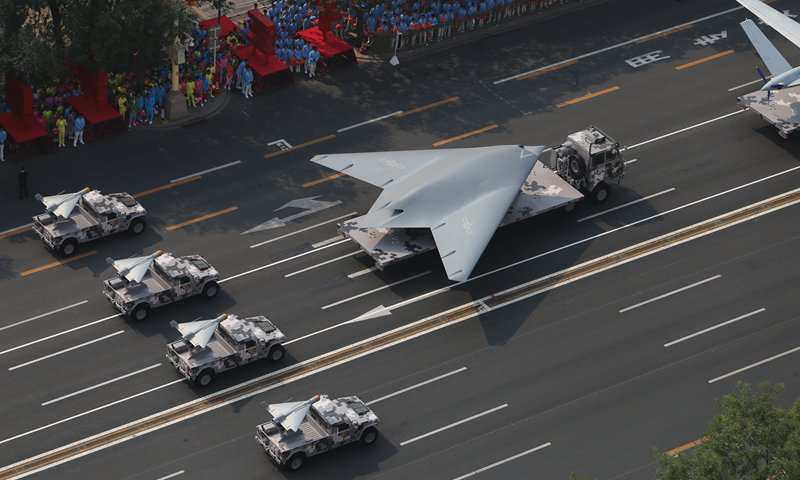 A GJ-11 stealth attack drone makes its parade debut during the National Day parade held in Beijing on October 1, 2019. Photo: Fan Lingzhi/GT