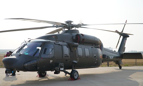 A Z-20 utility helicopter is on display prior to the 5th China Helicopter Exposition in Tianjin on October 9, 2019. Photo: Xu Luming/GT
