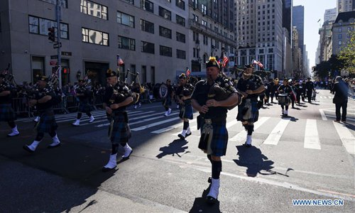 Columbus Day Parade held on Manhattan's Fifth Avenue in New York