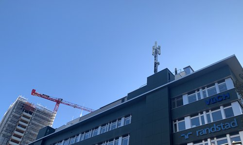 A Huawei 5G base station installed on a rooftop in Zurich. Photo: Chen Qingqing/GT