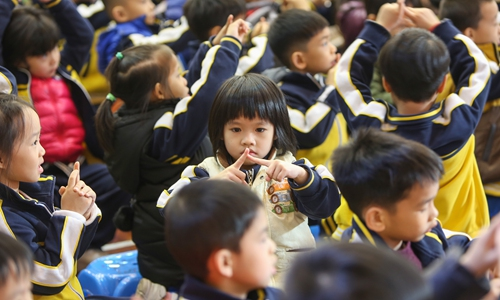 An educational campaign on preventing campus bullying is held at a primary school in Yuexiu district of Guangzhou, South China's Guangdong Province. Photo: VCG