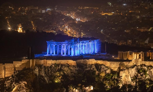 Acropolis of Athens illuminated to mark 30th anniv. of United Nations Convention on the Rights of the Child
