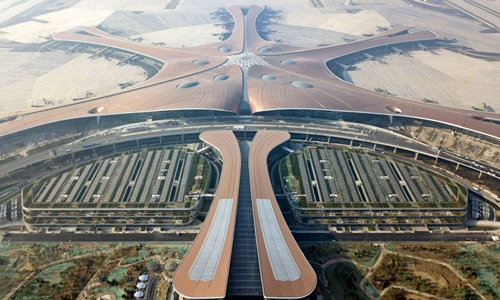 Aerial photo taken on June 14, 2019 shows the terminal building of the newly-built Beijing Daxing International Airport in Beijing, capital of China. (Xinhua/Cai Yang)