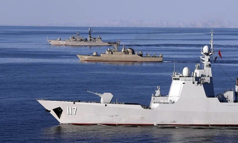 A photo made available by Iran Saturday shows the Chinese destroyer Xining (117), Iranian frigate Alborz (72) and Russian frigate Yaroslav Mudry sailing in the Indian Ocean and Gulf of Oman. Iran, China and Russia would have four days of joint drills, the commander of Iran's flotilla announced on Friday. Photo: AFP
