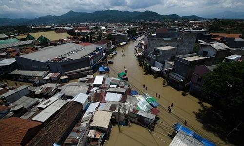 Flood hits Bandung, Indonesia