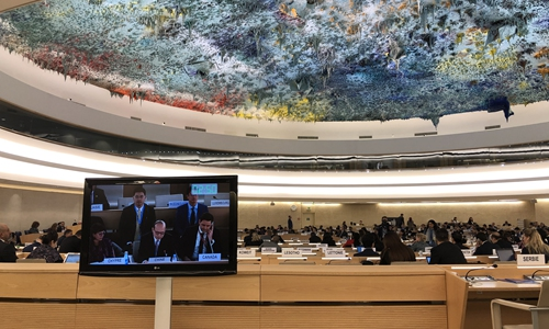 Ambassador Chen Xu, permanent representative of China to the United Nations office in Geneva and other international organizations in Switzerland, speaks during the 43rd session of the UN Human Rights Council. Photo: Liu Xin/GT