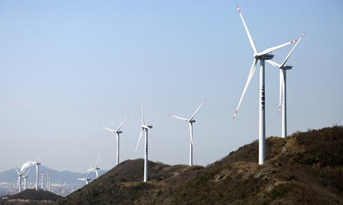 On Monday, 17 turbines generate electricity at the Jintangfeng wind farm (????) in Zhoushan, East China's Zhejiang Province. In 2019, total of 44.59 million kilowatt hours of electricity were fed into the grid, eliminating about 44,500 tons of carbon emissions in theory. Photo: cnsphoto