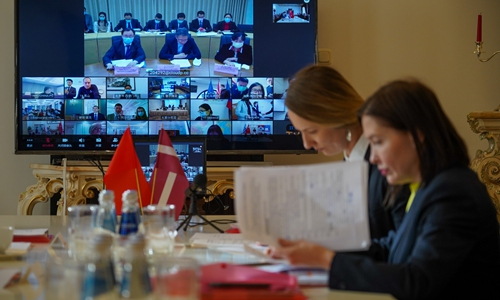 Latvian participants attend a video conference with Chinese health officials, experts and their counterparts from Central and Eastern European (CEE) countries in Riga, Latvia, March 13, 2020. (Photo by Janis/Xinhua)