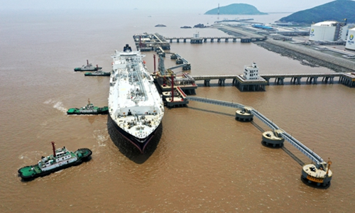 A ship loaded with liquefied natural gas (LNG) docks at an LNG receiving terminal in Zhoushan, East China's Zhejiang Province on Sunday. The tanker discharged 76,747 tons of LNG. The ship was the 11th LNG vessel the terminal received this year. Photo: CNSphoto