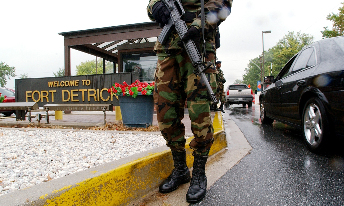 A soldier guards outside the Fort Detrick.  Photo: AFP