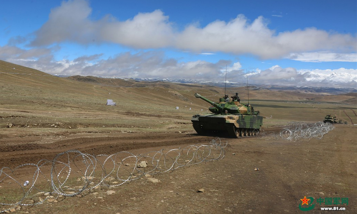 Type 15 lightweight tanks of the Chinese People's Liberation Army (PLA) were spotted participating in a recent exercise in a low temperature mountainous plateau region. This type of tank has significant advantages over other types of tanks or armored vehicles in such regions, experts said.