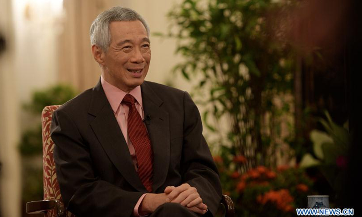 Singaporean Prime Minister Lee Hsien Loong receives an interview with Xinhua in Singapore in April 2019. Photo: Xinhua