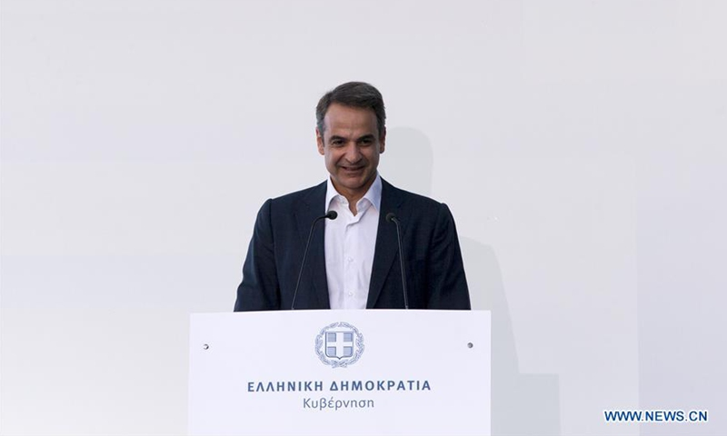 Greek Prime Minister Kyriakos Mitsotakis delivers a speech at an event on public health in Athens, Greece, on July 1, 2020. Greek Prime Minister Kyriakos Mitsotakis expressed the government's gratitude on Wednesday to donors for their continuing support to the National Health System in the war against COVID-19, at an event here on the occasion of a new donation made by Stavros Niarchos Foundation (SNF). (Xinhua/Marios Lolos)