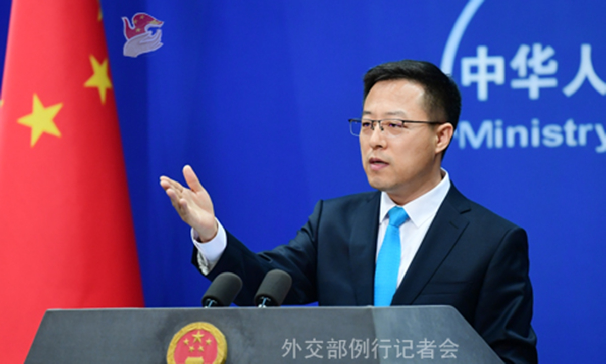 Foreign ministry spokesperson Zhao Lijian is making remarks at a routine press briefing on July 8. Photo: Ministry of Foreign Affairs