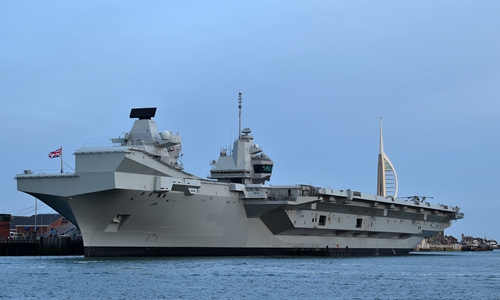 The HMS Queen Elizabeth aircraft carrier is pictured at anchor on the Solent, following an event to commemorate the 75th anniversary of the D-Day landings, in Portsmouth, southern England, on June 5, 2019. Photo: AFP