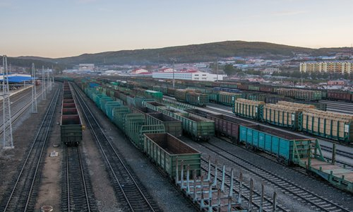 Russian freight cars containing timber in Suifenhe, a major Chinese border city with Russia, on September 26, 2018 Photo: IC