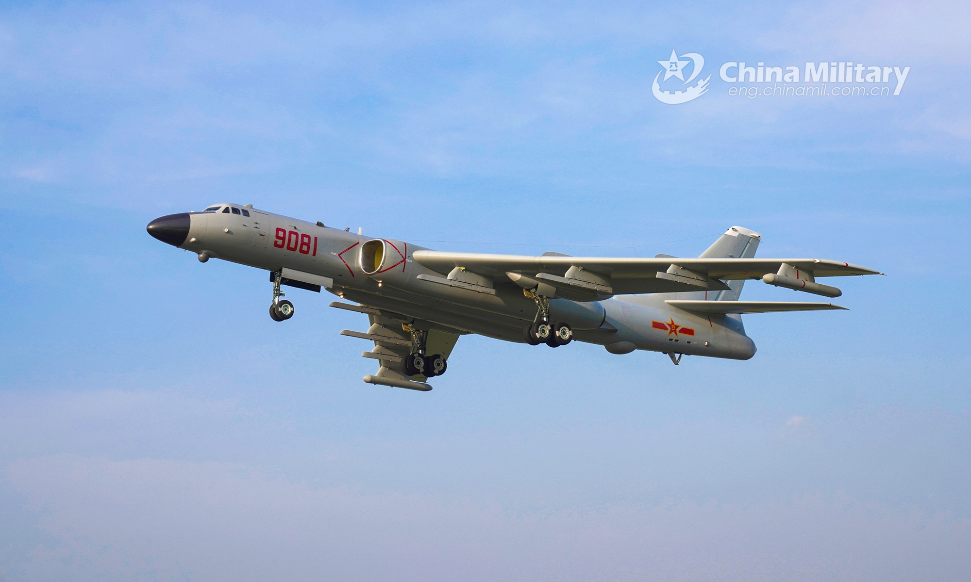A H-6 strategic bomber attached to a bomber regiment of the naval aviation force under the PLA Southern Theater Command takes off for a recent realistic flight training exercise. (eng.chinamil.com.cn/Photo by Gao Hongwei)
