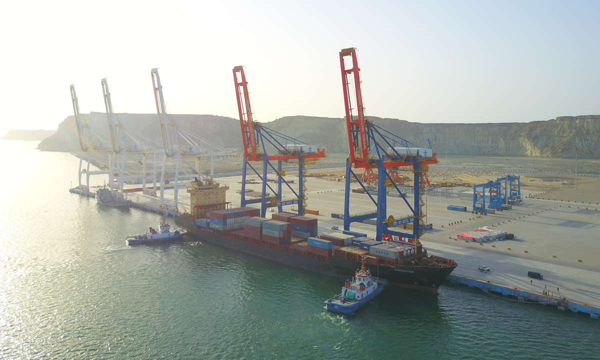 A container ship docks at the Gwadar port in Pakistan. Photo: Xinhua