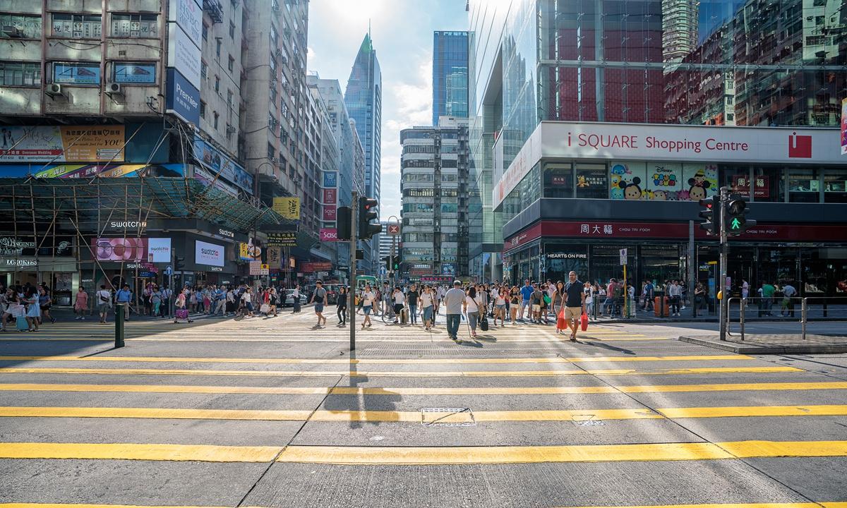 The street view of Hong Kong Photo: VCG