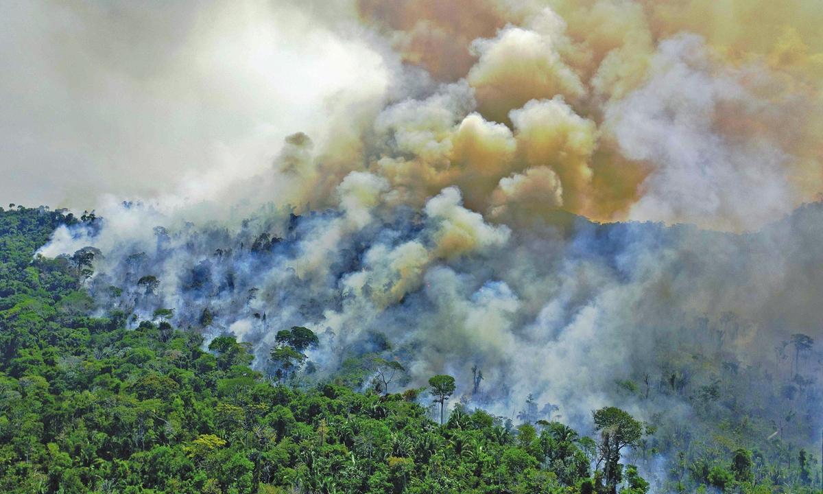 View of fire in area of the Amazon rainforest, near Porto Velho, Rondonia state, Brazil, on Sunday Photo: VCG