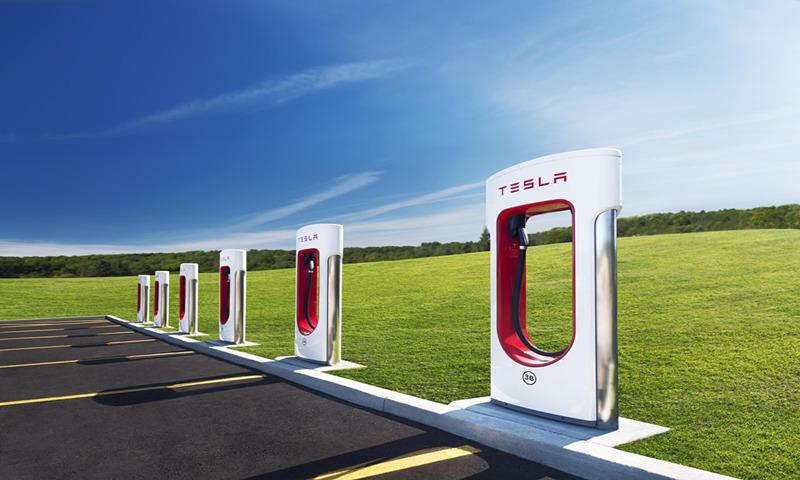 Charging piles of Tesla Photo: VCG