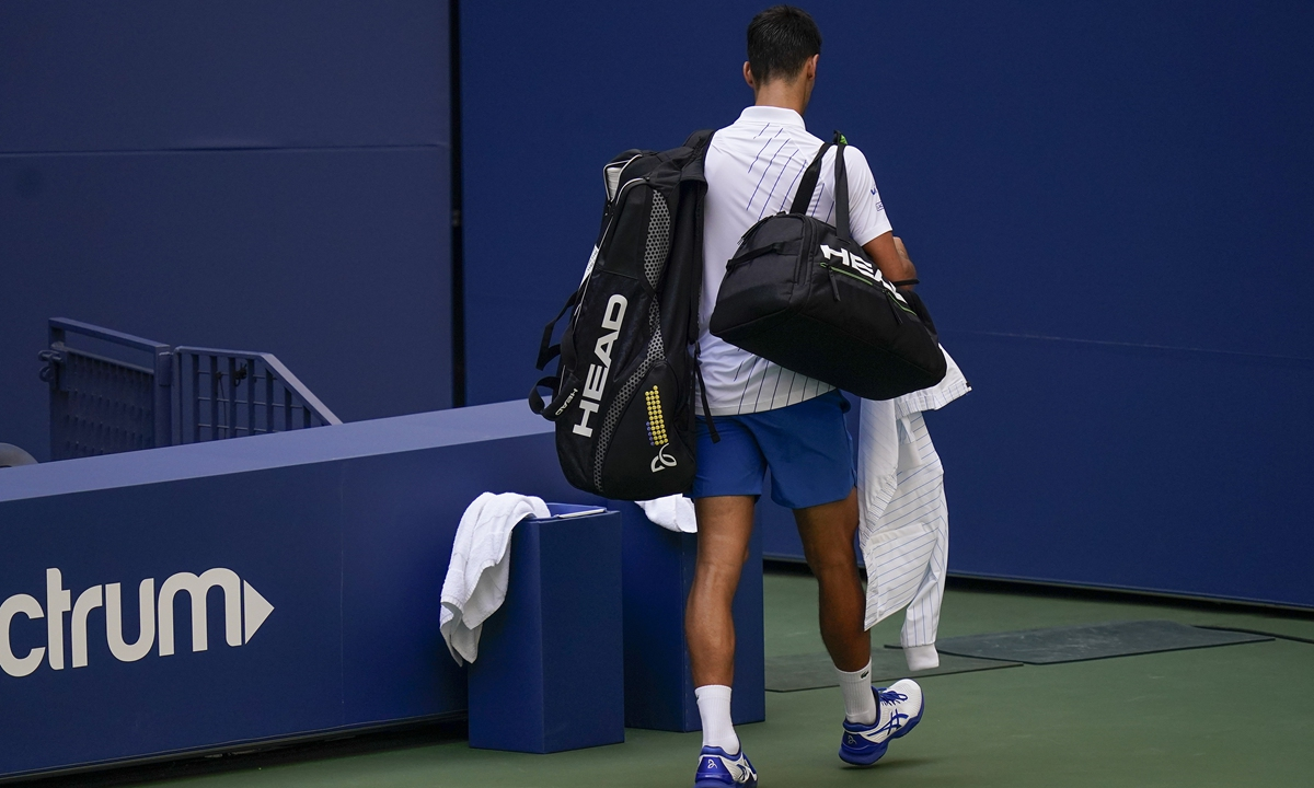 Novak Djokovic Disqualified From Us Open For Hitting Judge Global Times
