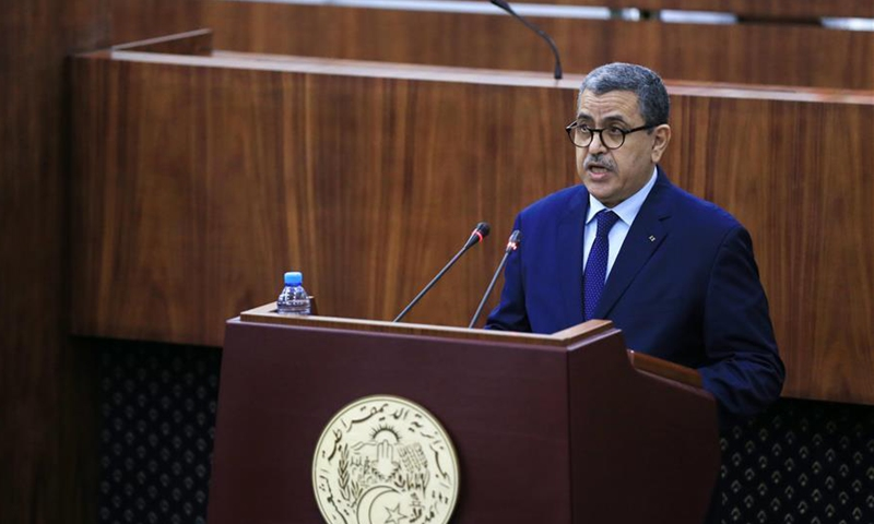Algerian Prime Minister Abdelaziz Djerad attends the voting meeting of Algerian People's National Assembly in Algiers, Algeria on Sept. 10, 2020. Algerian People's National Assembly Thursday unanimously adopted the draft of the new constitution, according to the official APS news agency. (Xinhua)