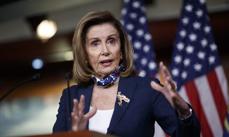 US House Speaker Nancy Pelosi speaks during a press conference on Capitol Hill in Washington, D.C., the United States, on Sept. 10, 2020. (Photo by Ting Shen/Xinhua)