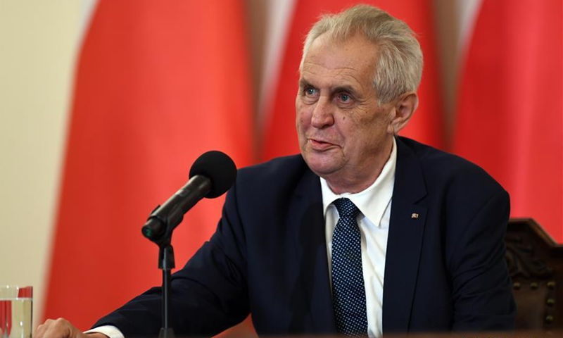 Czech President Milos Zeman speaks at the Polish Presidential Palace in Warsaw, Poland, on May 10, 2018. Czech President Milos Zeman began his visit to Poland Thursday with a meeting with his Polish counterpart Andrzej Duda. File photo:Xinhua