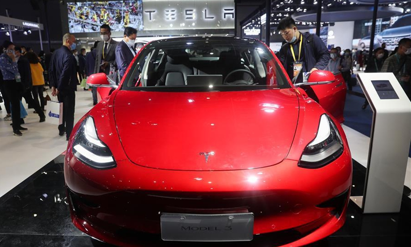 A Tesla Model 3 electric car is seen at the Automobile exhibition area during the third China International Import Expo (CIIE) in Shanghai, east China, Nov. 6, 2020.Photo:Xinhua