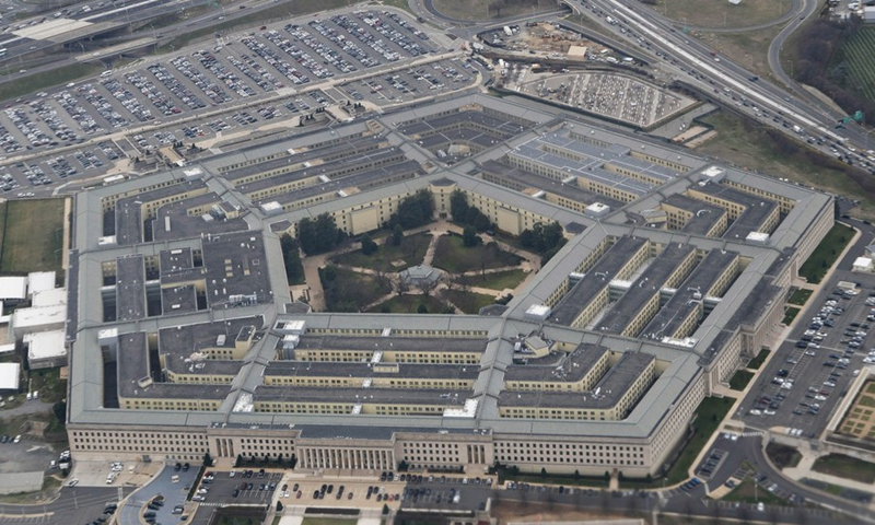 Photo taken on Feb. 19, 2020 shows the Pentagon seen from an airplane over Washington D.C., the United States. (Xinhua/Liu Jie)