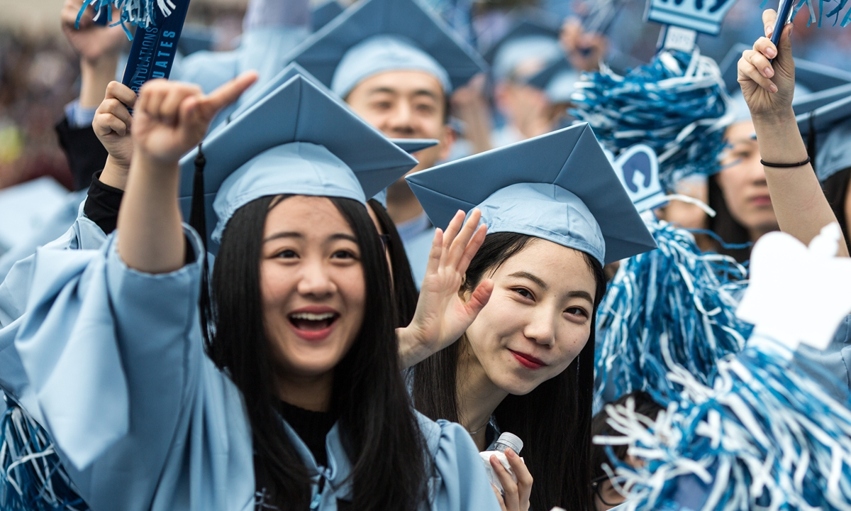 Some Chinese students celebrate graduation in New York. Photo: IC