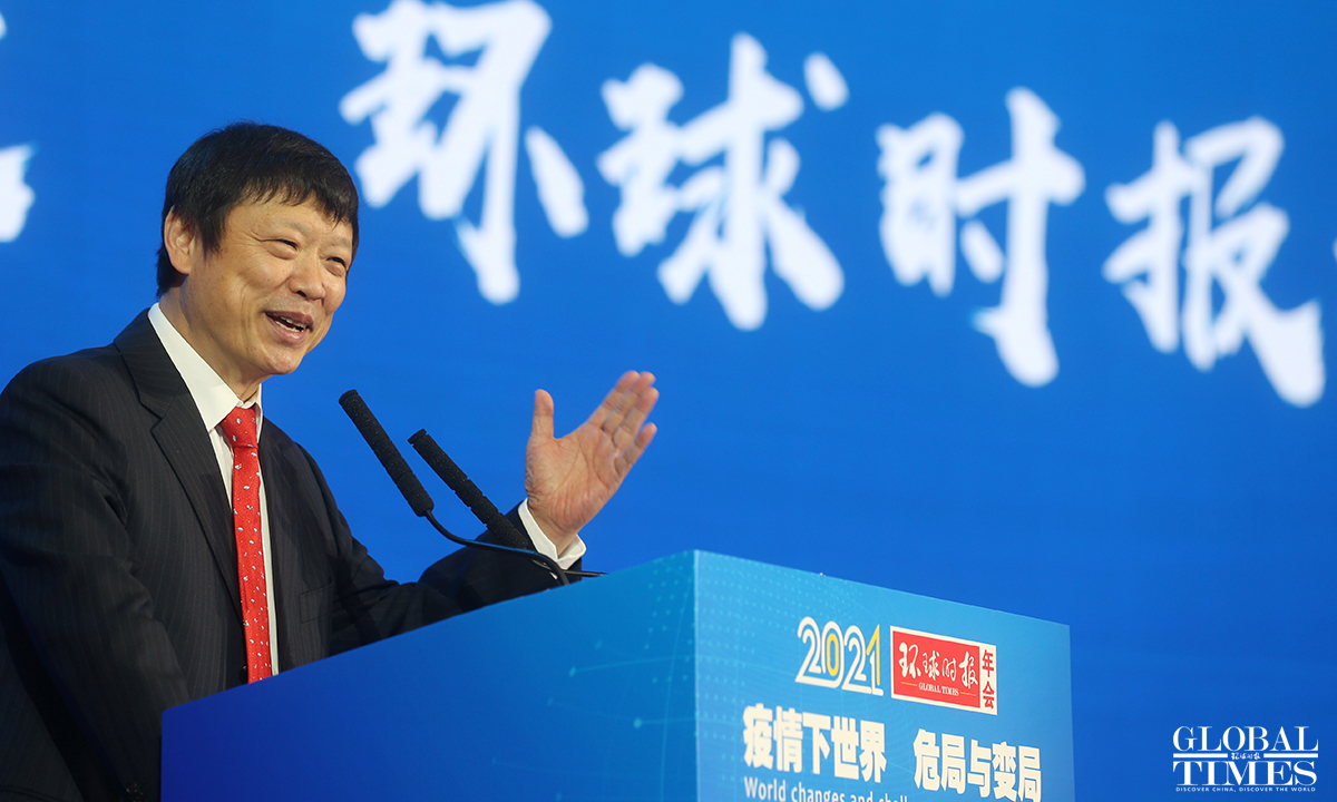 Hu Xijin, editor-in-chief of the Global Times,delivers the opening speech during the annual forum on Saturday in Beijing. Photo: Cui Meng/GT