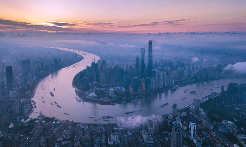 Aerial photo taken on June 21, 2018 shows morning view of the Lujiazui area in Pudong of Shanghai, east China.Photo:Xinhua