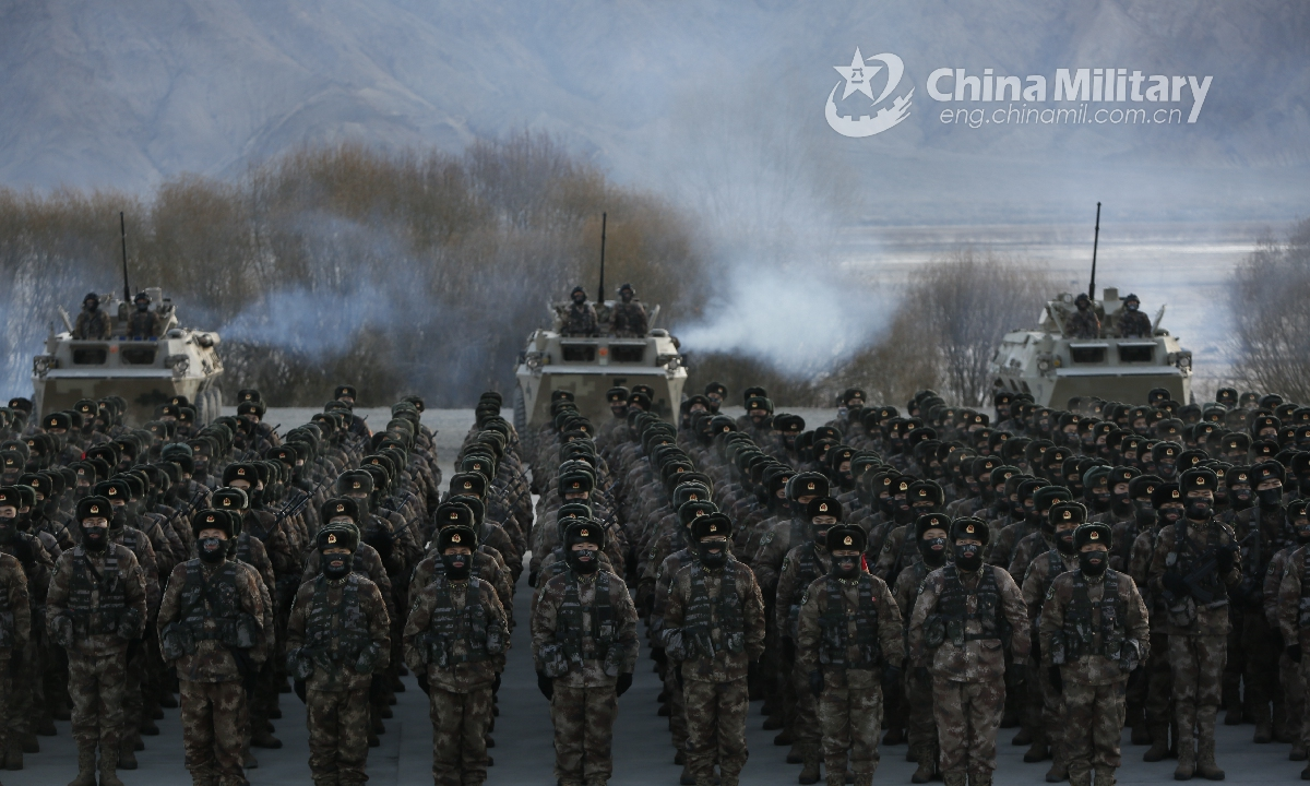 Soldiers assigned to a border defense regiment of the Kashgar Military Sub-command under the PLA Xinjiang Military Command are assembled on the training ground, well-prepared for multi-item military tests on January 4, 2021. (eng.chinamil.com.cn/Photo by Ji Wenzhi)