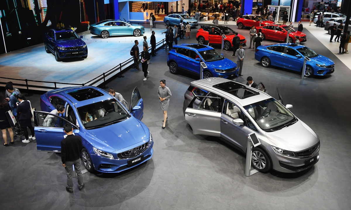Geely cars are displayed at the Shanghai Auto Show in Shanghai on April 17, 2019. File photo: AFP