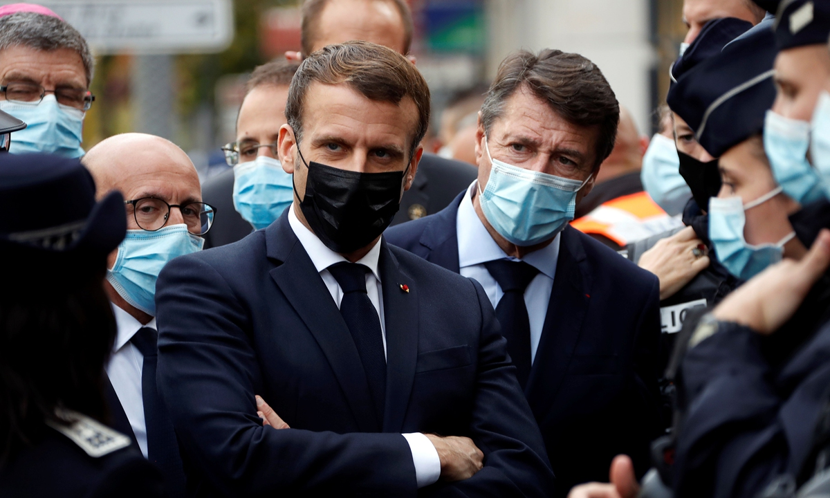 French President Emmanuel Macron visits the scene of the knife attack in Nice on October 29, 2020. Photo: VCG
