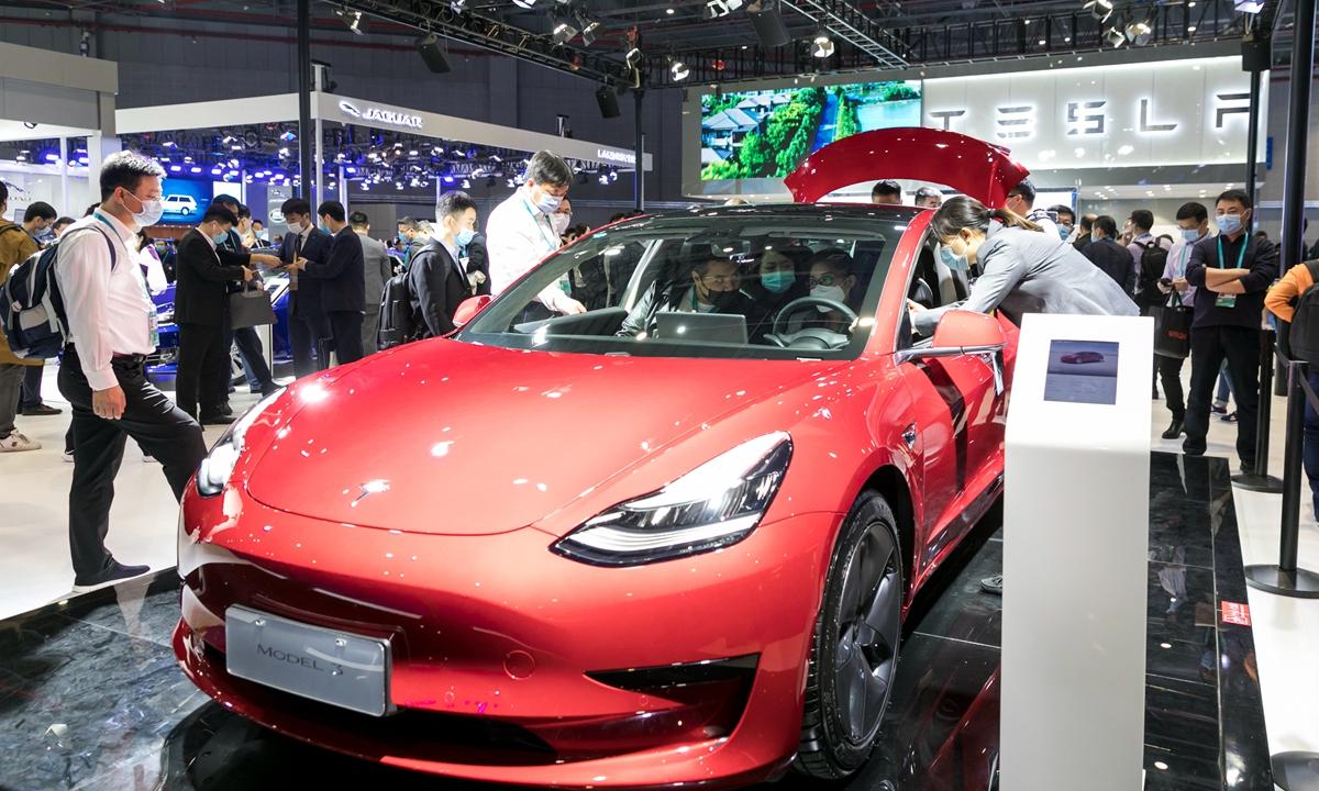 A Tesla EV model seen in Shanghai in November 2020 Photos: cnsphoto
